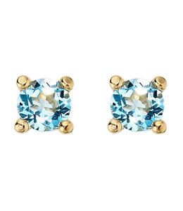 JOBO Gouden oorknopjes met blauwtopaas