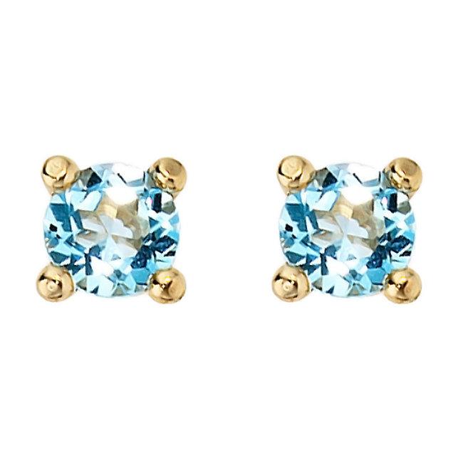 Aurora Patina Gouden oorknopjes met blauwtopaas