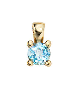 JOBO Gold pendant with blue topaz