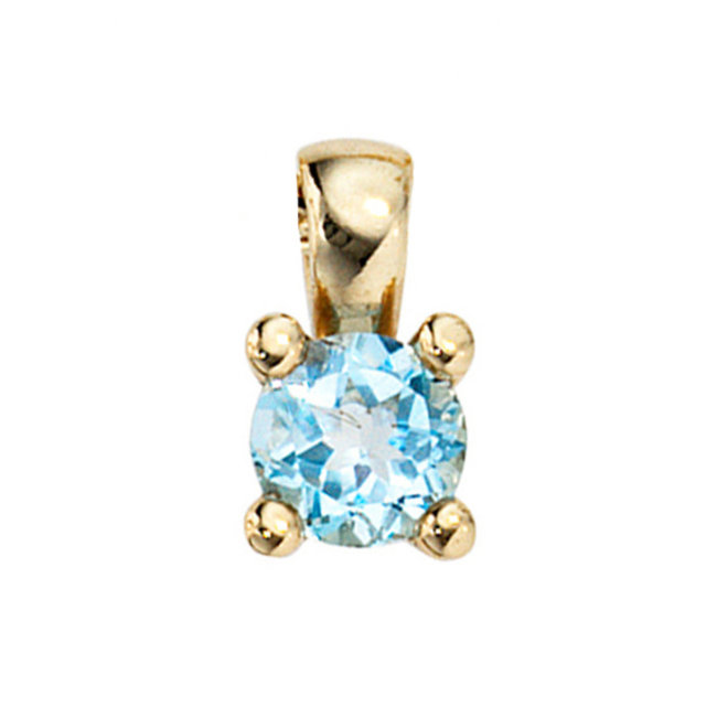 Aurora Patina Gold pendant with blue topaz