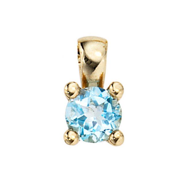 Gold pendant 8 carat (333) with blue topaz