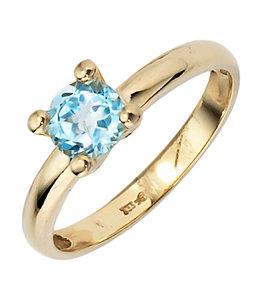 JOBO Gouden ring met blauwtopaas