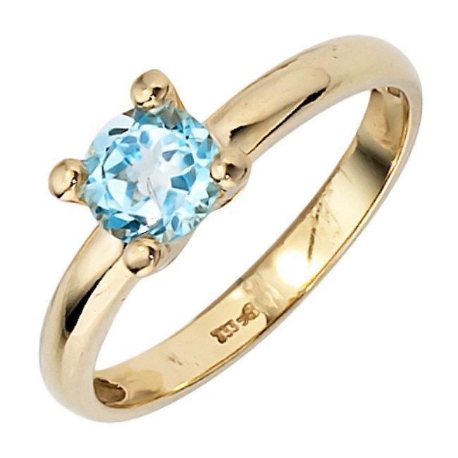 Gouden ring 8 karaat (333) met blauwtopaas