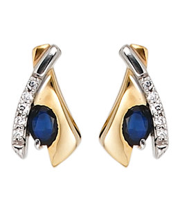 JOBO Golden ear studs blue sapphire and zirconia