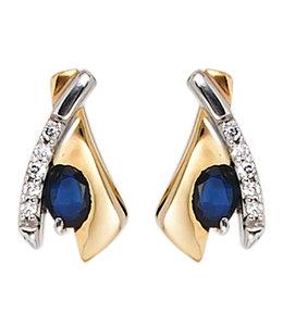 JOBO Gouden oorstekers blauwe saffier en zirkonia