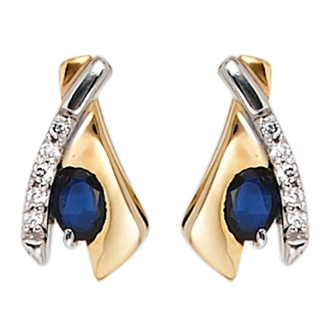 Aurora Patina Gouden oorstekers blauwe saffier en zirkonia
