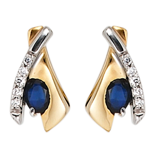 Golden ear studs (333) with blue sapphire and zirconias