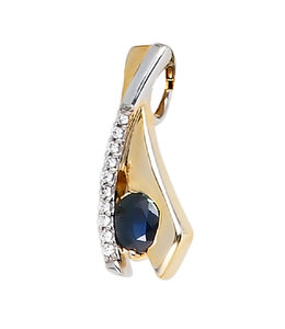 JOBO Golden pendant blue sapphire and zirconia
