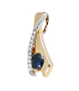 JOBO Gouden hanger blauwe saffier en zirkonia