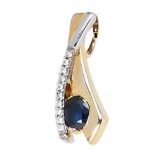 Aurora Patina Golden pendant blue sapphire and zirconia