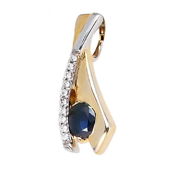 Aurora Patina Gouden hanger blauwe saffier en zirkonia