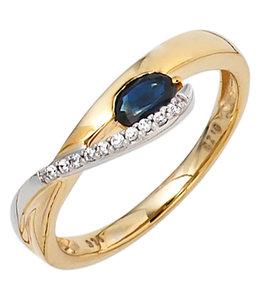 Aurora Patina Goldring blauer Saphir und Zirkonia