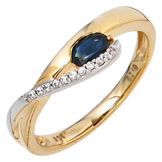 Aurora Patina Golden ring blue sapphire and zirconia