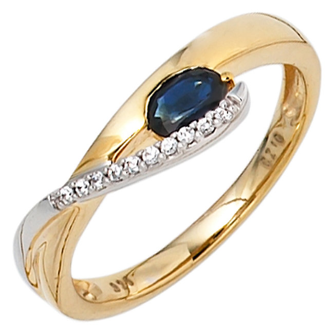 Golden ring (333) with blue sapphire and zirconias
