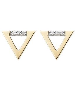 Aurora Patina Gouden oorstekers met briljanten driehoek