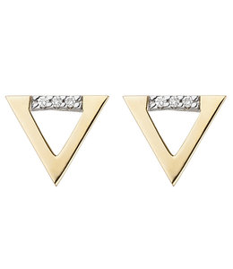 JOBO Golden ear studs with brilliant cut diamonds triangle