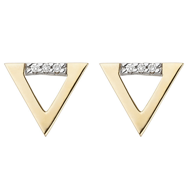 Aurora Patina Golden ear studs with brilliant cut diamonds triangle