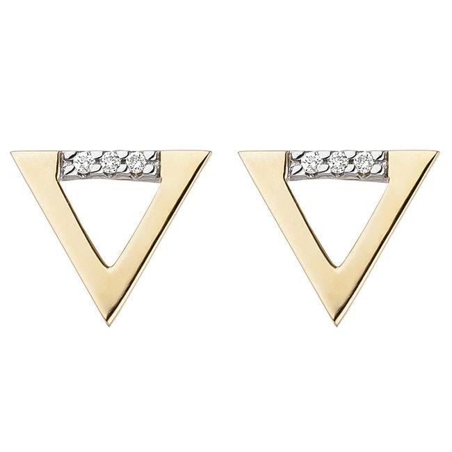 Golden ear studs 14 ct. (585) with brilliant cut diamonds