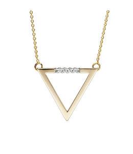 Aurora Patina Gouden collier met briljanten driehoek
