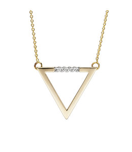 JOBO Gold necklace with brilliant cut diamonds triangle