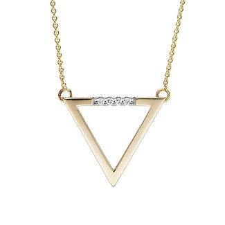 Aurora Patina Goldene Halskette mit Brillanten Dreieck