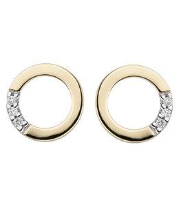 Aurora Patina Gouden oorstekers met briljanten rond