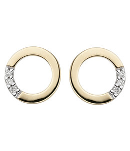 JOBO Golden ear studs with brilliant cut diamonds round