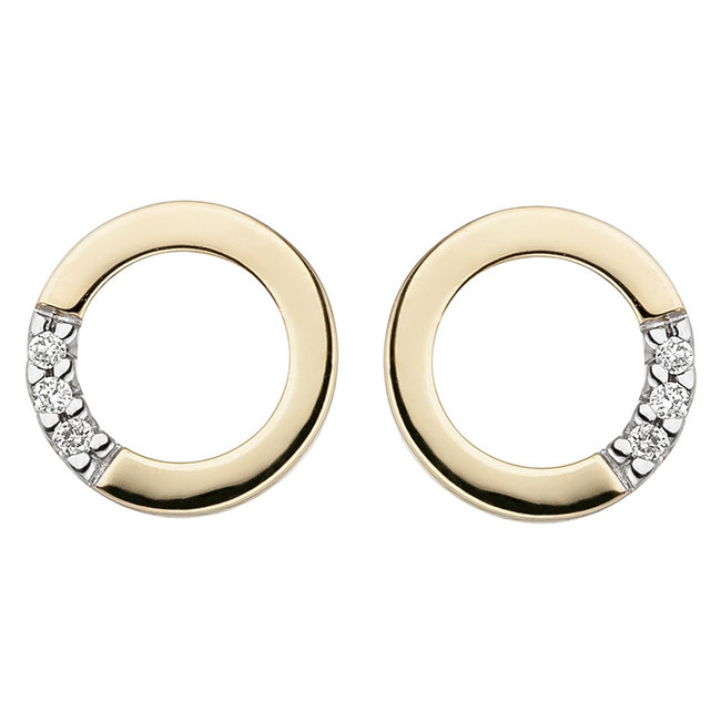 Gouden oorstekers 14 kt. (585) met briljanten