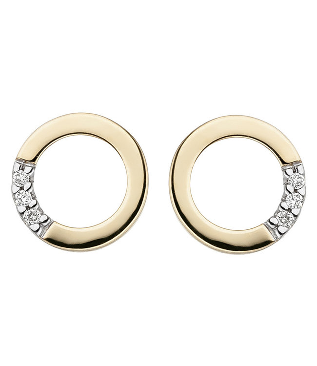 Aurora Patina Gouden oorstekers 14 kt. (585) met briljanten