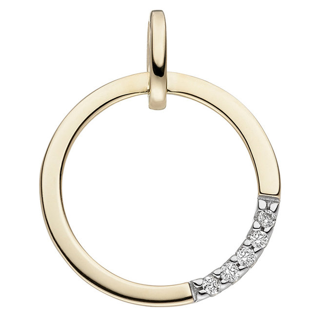 Golden pendant 14 ct. (585) with brilliant cut diamonds