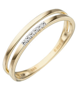 Aurora Patina Golden ring with brilliant cut diamonds