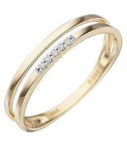 Aurora Patina Gouden ring met briljanten