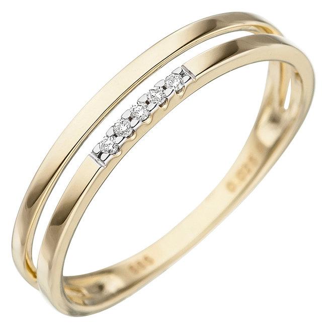 Gouden ring 14 kt. (585) met briljanten