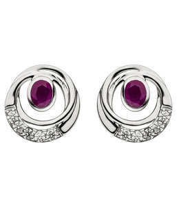JOBO White gold earrings ruby and zirconia