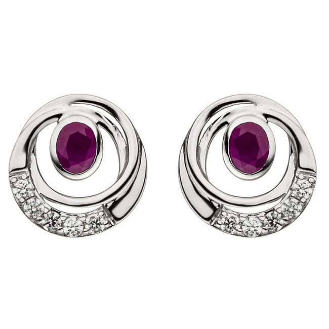 White gold earrings (375) with ruby and zirconia