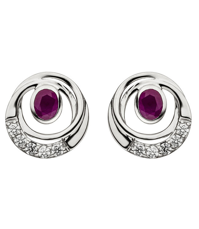 JOBO White gold earrings (375) with ruby and zirconia