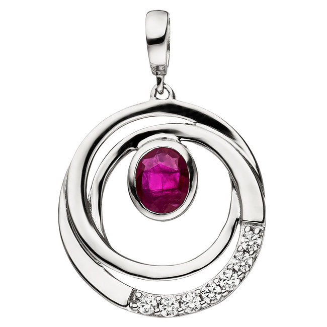 White gold pendant (375) with ruby and zirconia