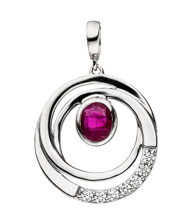 Aurora Patina White gold pendant (375) with ruby and zirconia