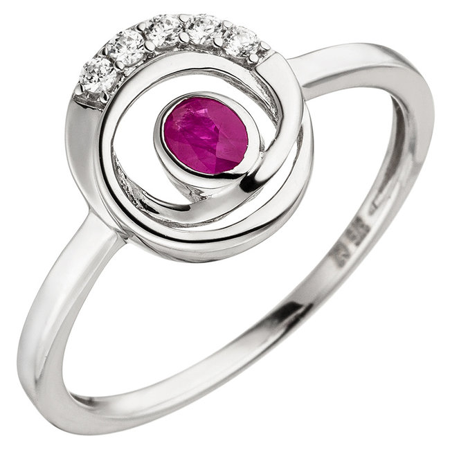 White gold ring (375) with ruby and zirconia