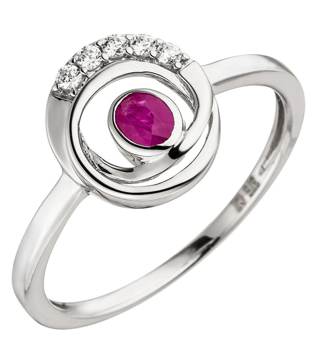 Aurora Patina White gold ring (375) with ruby and zirconia