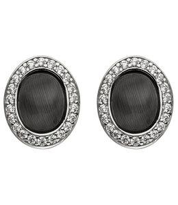 JOBO Silver ear studs black stone and zirconia