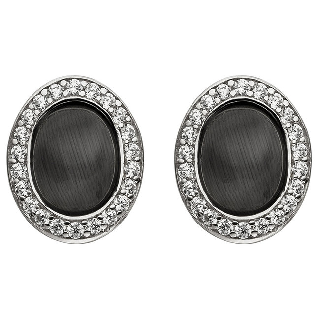 Aurora Patina Silver ear studs black stone and zirconia