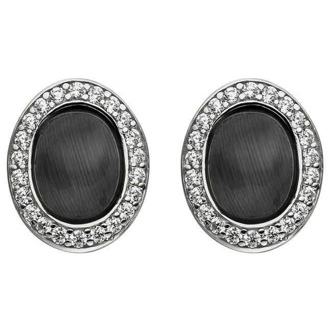 Zilveren oorstekers met zwarte steen en zirkonia