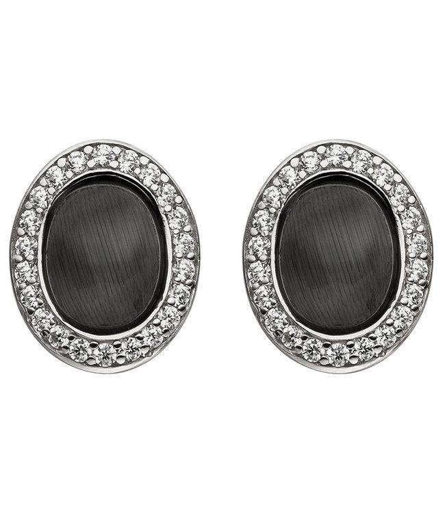 Aurora Patina Silberne Ohrringe mit schwarzem Stein und Zirkonia
