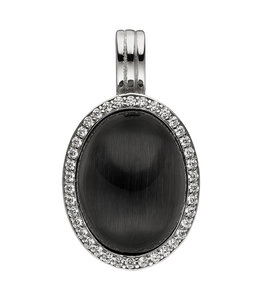 Aurora Patina Silver pendant black stone and zirconia