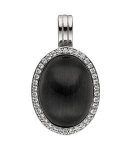 JOBO Zilveren hanger zwarte steen en zirkonia