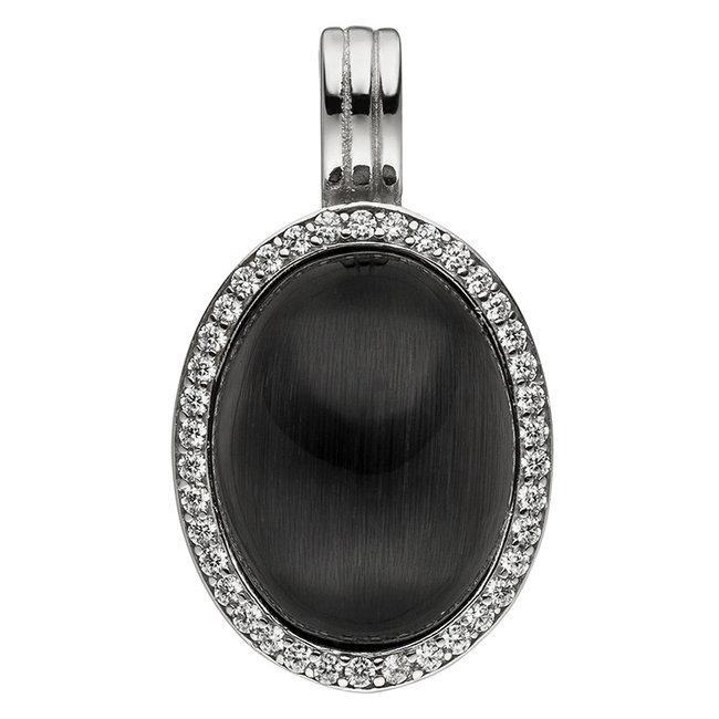 Zilveren hanger met zwarte steen en zirkonia