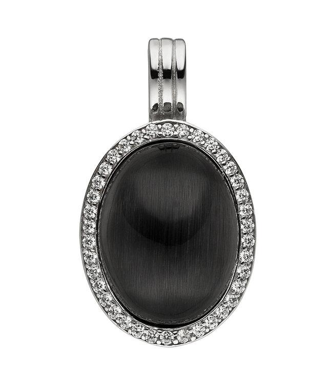 JOBO Zilveren hanger met zwarte steen en zirkonia