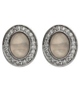 Aurora Patina Zilveren oorstekers rozenkwarts en zirkonia