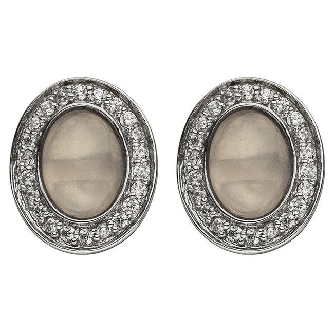 Silver ear studs rose quartz and zirconia
